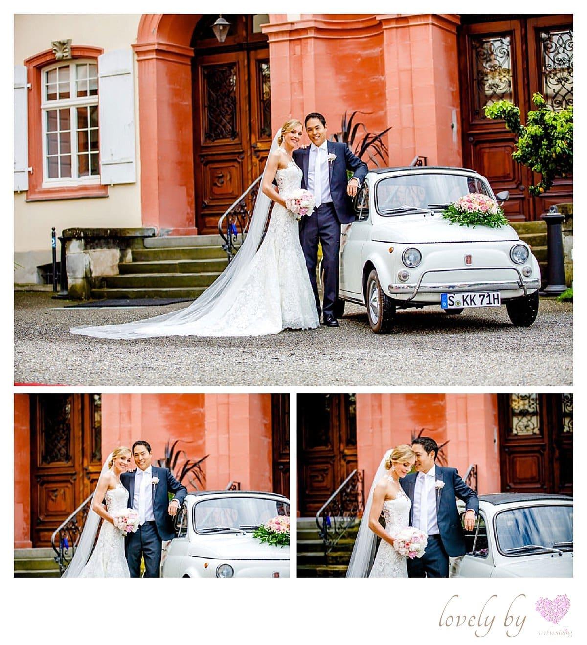 Hochzeit auf Insel Mainau am Bodensee, organisiert von rockwedding, Hochzeitsauto Fiat 500