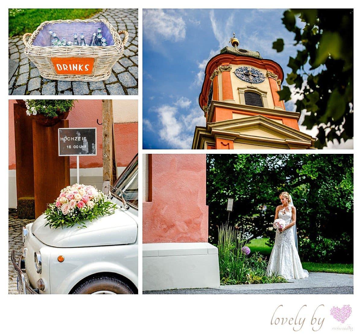 Hochzeit auf Insel Mainau am Bodensee in der Marienchurch, Fiat500, Papeterie kreiert bei vonrock