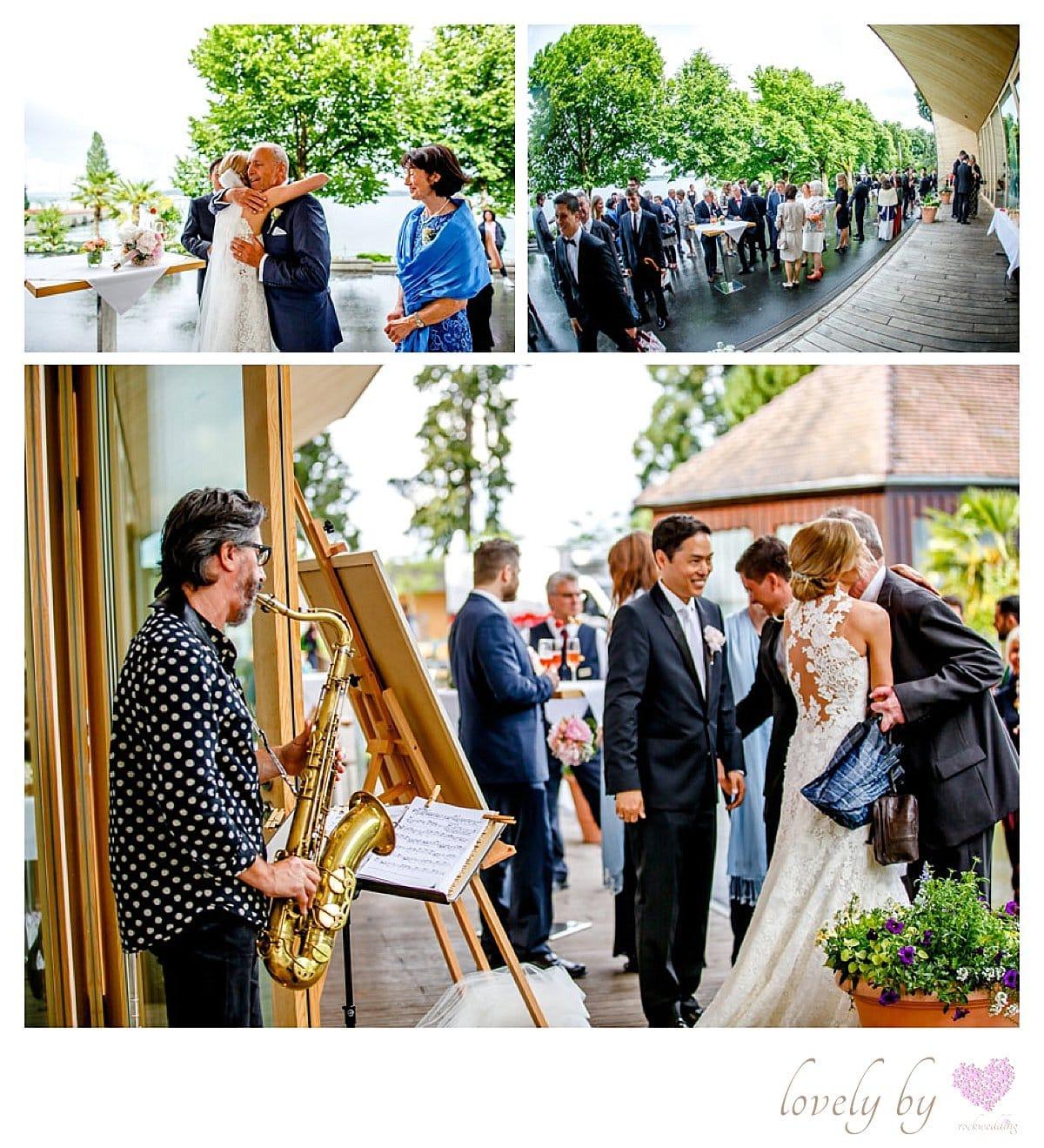 Hochzeit auf Insel Mainau am Bodensee Saxophonist Volker Wagner organisiert von Rockwedding