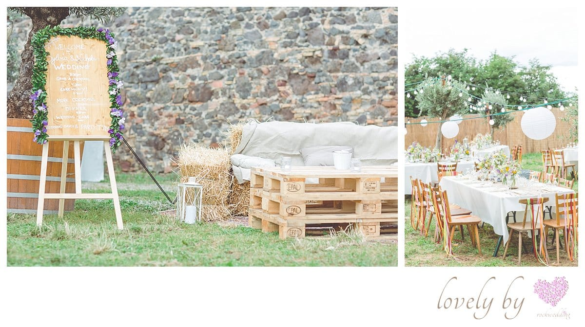 Die Gartenparty zur Hochzeit von Sylvia und Nicholas in Burkheim am Kaiserstuhl Bohostyle Real wedding designed and organised by Anna-Maria Rock rockwedding Pallettenlounge