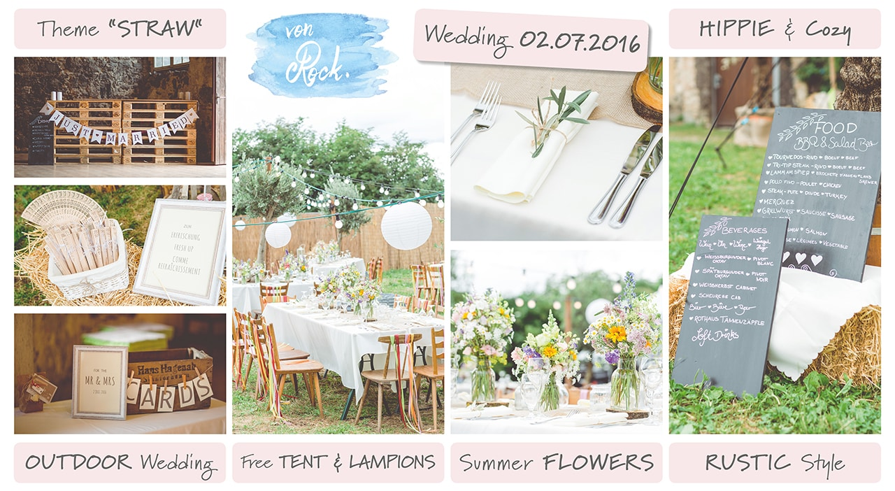 Die Gartenparty zur Hochzeit von Sylvia und Nicholas in Burkheim am Kaiserstuhl Bohostyle Real wedding designed and organised by Anna-Maria Rock rockwedding Moodboard
