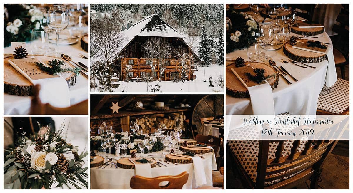 Winterhochzeit auf dem Henslerhof. Gefeiert wird hier in einer Scheune, umgeben von Schnee.