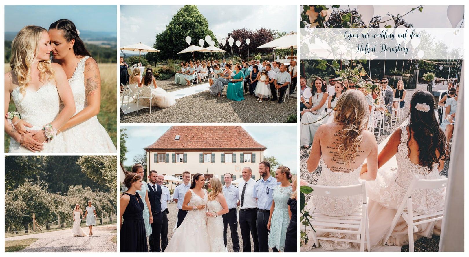 Collage aus Bildern einer gleichgeschlechtlichen Hochzeit auf dem Hofgut Dornsberg, an welchem unsere Wedding Planner von Rockwedding das Brautpaar mit der Dekoration unterstützen durften.