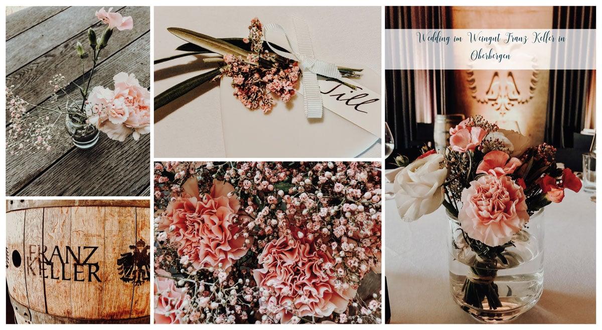 Collage der Hochzeitsdekoration Kaiserstuhl Kellerwirtschaft Oberbergen