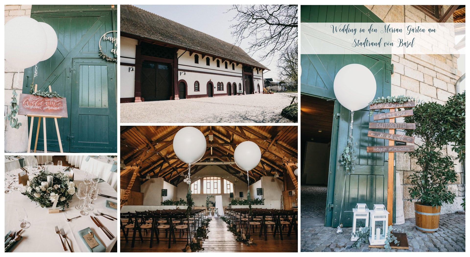 Zu sehen ist die von unseren Hochzeitsdekorateuren liebevoll dekorierte Scheune in den Meriangaerten in Basel