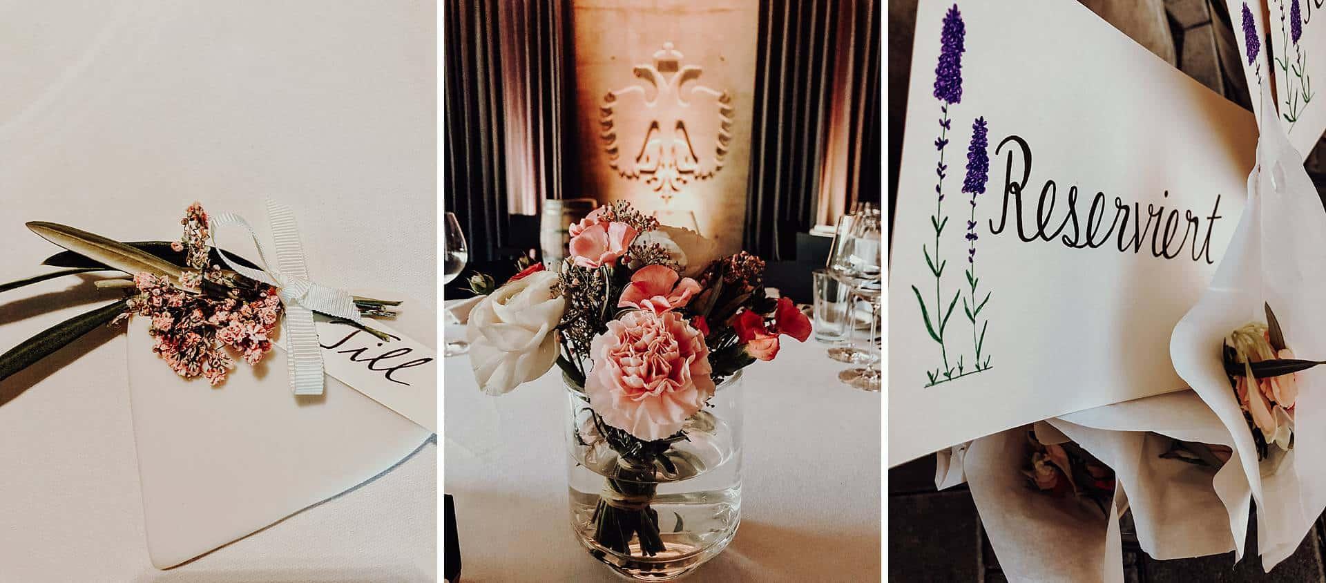 Hochzeitsdekoration Nelkenstrauß in altrosa