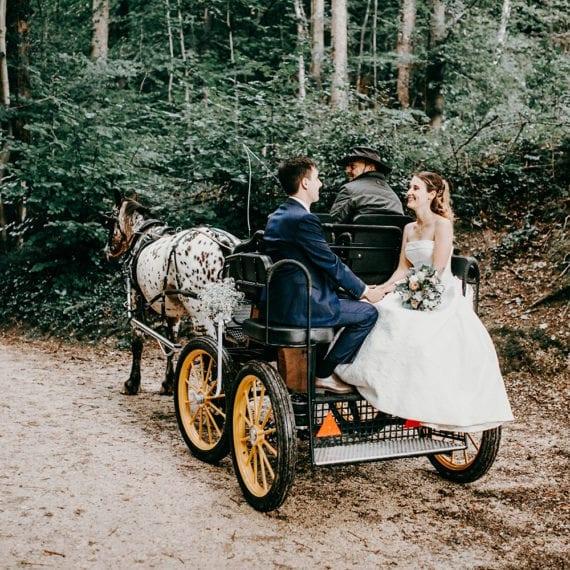 Romantische Kutschenfahrt im Wald nach der Trauung.
