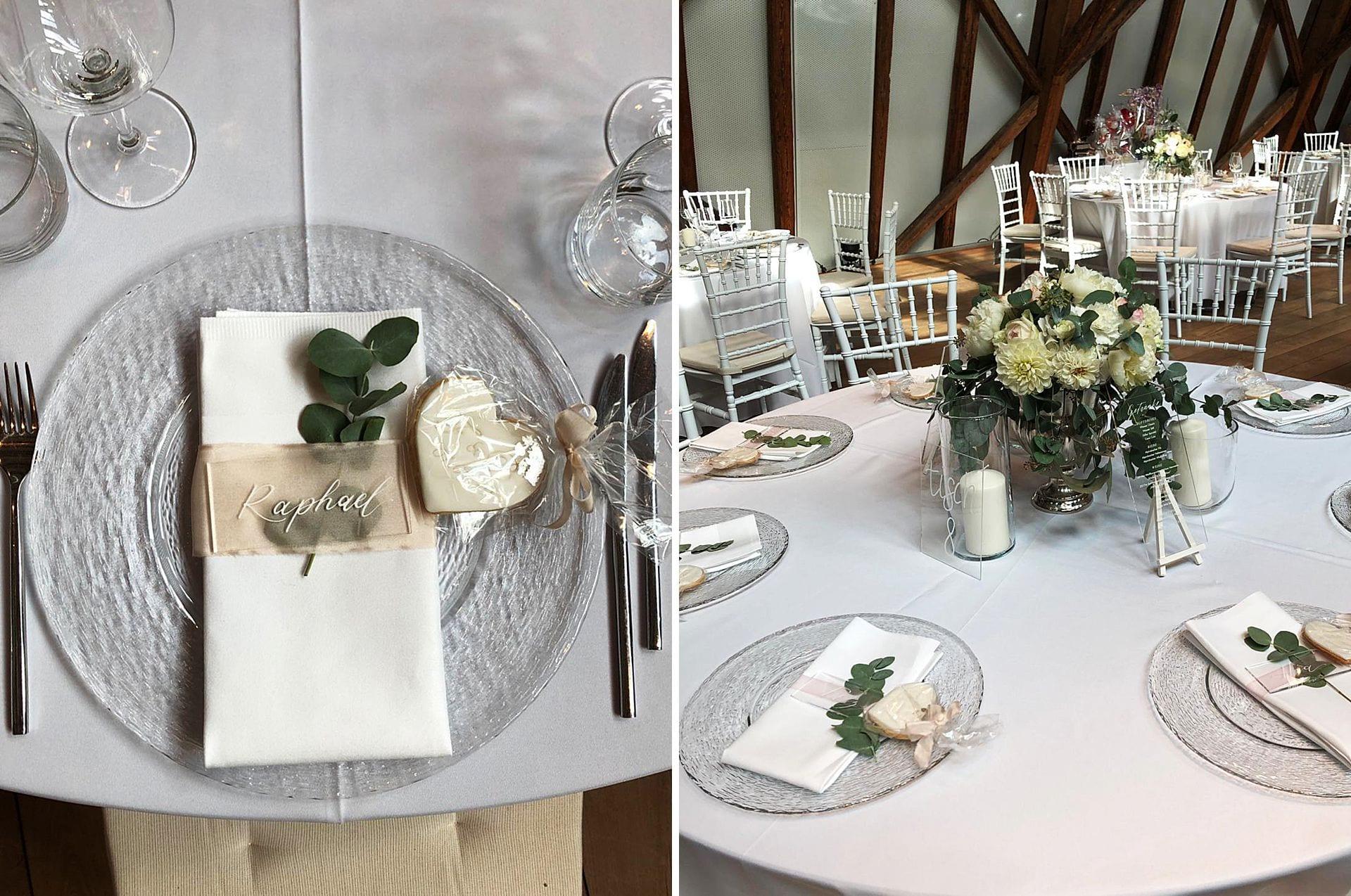 Hochzeitsdekoration mit Blush und Grün in der buhlschen Mühle Ettlingen.